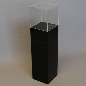 100cm Tall - Black Acrylic Display Pedestal / Plinth with Display Case